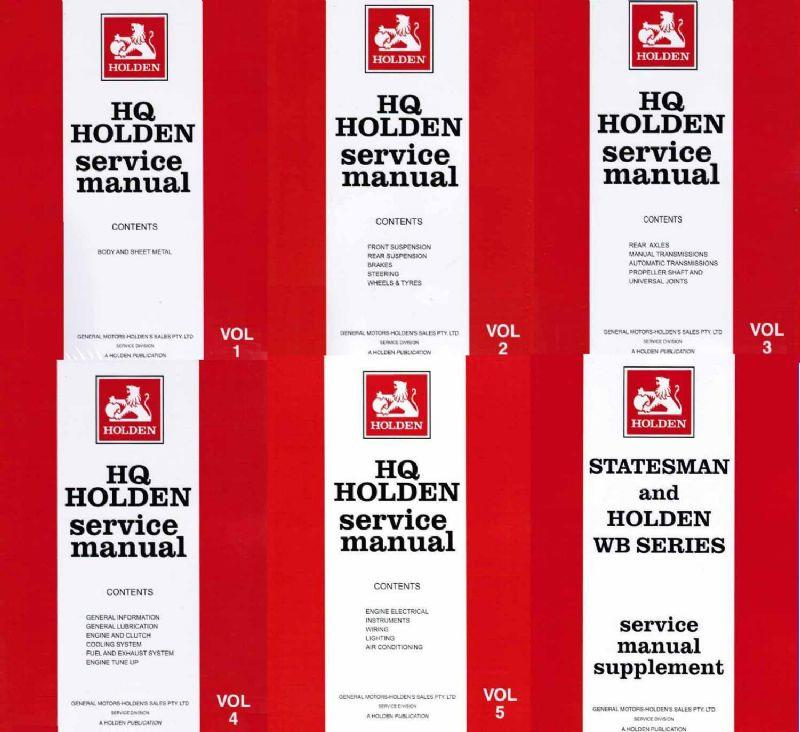 Holden HQ, HJ & Statesman 1971 - 1985 Service Manual (6 Volume Set)