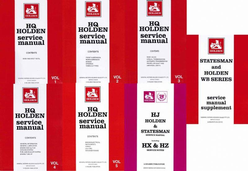 Holden HQ, HJ & Statesman 1971 - 1985 Service Manual (7 Volume Set)