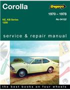 Toyota Corolla 1200 1970 - 1978 Gregorys Owners Service & Repair Manual - Front Cover