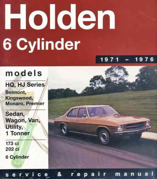 Holden HQ / HJ (6 cyl) 1971 - 1976 Gregorys Owners Service & Repair Manual - Front Cover