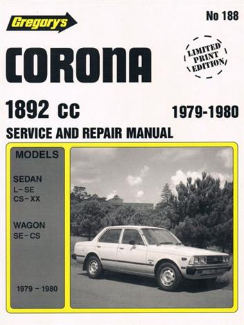 Toyota Corona (1892cc) 1979 - 1980 Gregorys Owners Service & Repair Manual - Front Cover