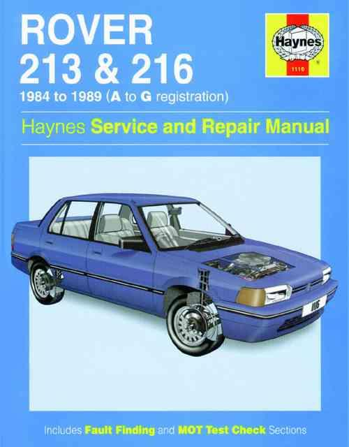 Rover 213 and 216 1984 - 1989 Haynes Owners Service & Repair Manual