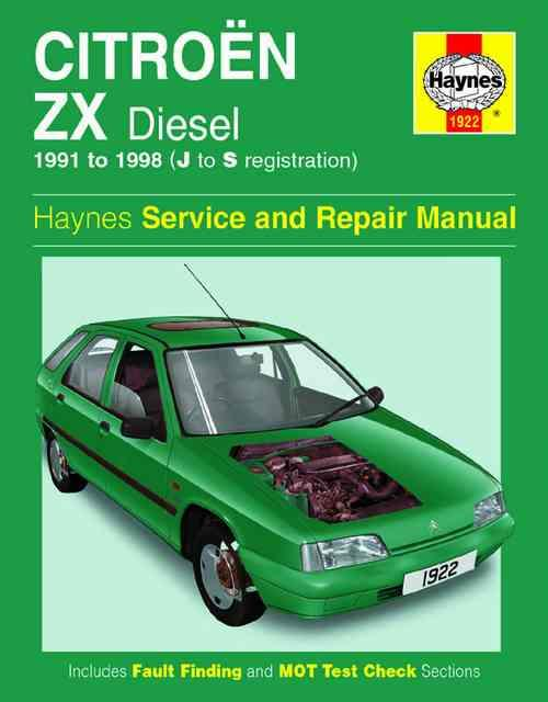 Citroen ZX Diesel 1991 - 1998 Haynes Owners Service & Repair Manual - Front Cover