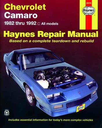 Chevrolet Camaro 1982 - 1992 Haynes Owners Service & Repair Manual - Front Cover