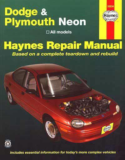Dodge and Plymouth Neon 1995 - 1997 Haynes Owners Service & Repair Manual - Front Cover