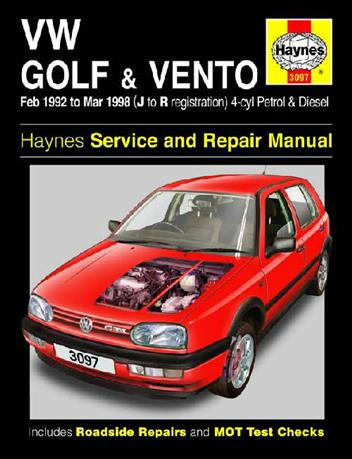 Volkswagen VW Golf & Vento (Petrol & Diesel) 1992 - 1998 - Front Cover