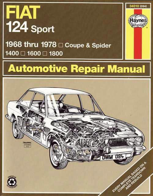 Fiat 124 Sports 1968 - 1978 Haynes Owners Service & Repair Manual - Front Cover