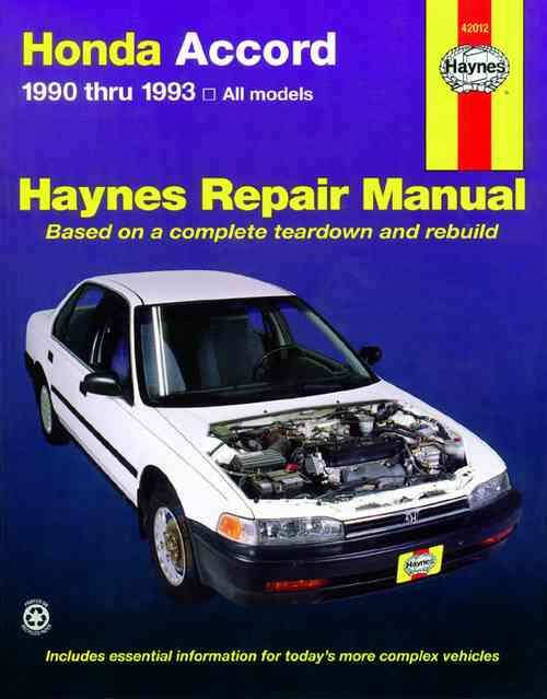 Honda Accord 1990 - 1993 Haynes Owners Service & Repair Manual - Front Cover