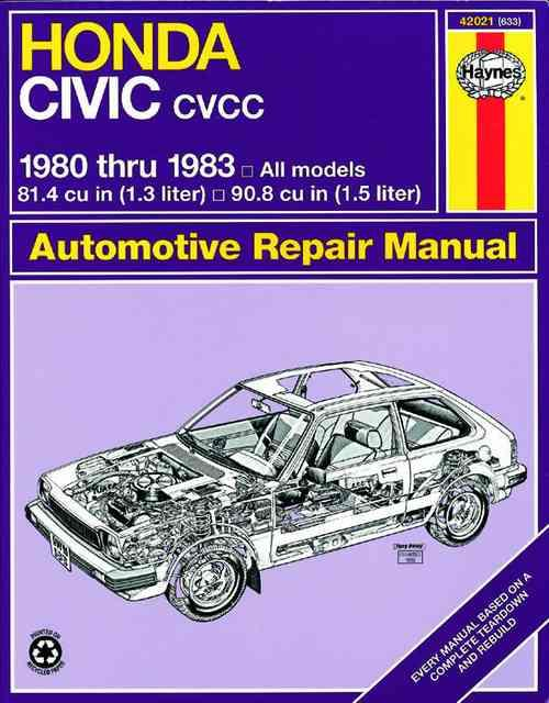 Honda Civic 1300 & 1500 CVCC 1980 - 1983 Haynes Owners Service & Repair Manual