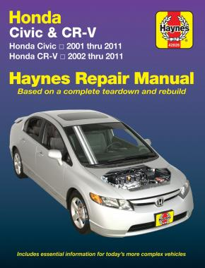 Honda Civic & CR-V (CRV) 2001 - 2010 Haynes Owners Service & Repair Manual