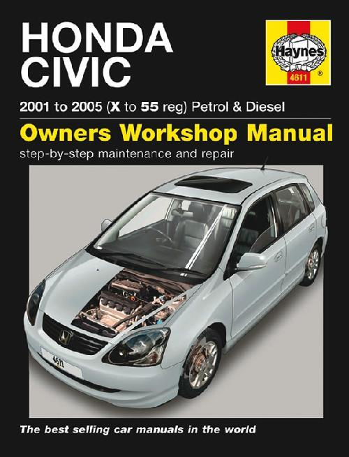 Honda Civic Petrol & Diesel 2001 - 2005 Haynes Owners Service & Repair Manual - Front Cover