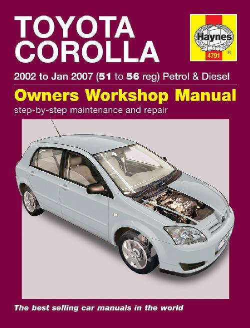 Toyota Corolla 2002 - 2007 Haynes Owners Service & Repair Manual - Front Cover