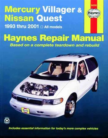 Mercury Villager & Nissan Quest 1993-2001 Haynes Owners Service & Repair Manual - Front Cover