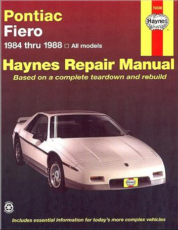 Pontiac Fiero 1984 - 1988 Haynes Owners Service & Repair Manual - Front Cover