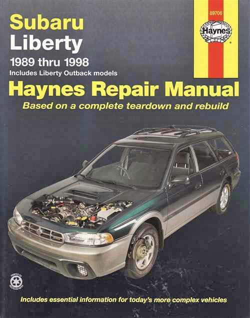 Subaru Liberty (inc Outback) 1989 - 1998 Haynes Owners Service & Repair Manual - Front Cover