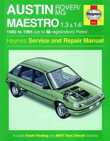 Austin / MG / Rover Maestro 1983 - 1995 Haynes Owners Service & Repair Manual - Front Cover