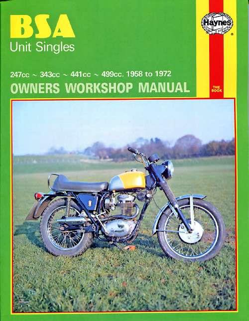BSA Unit Singles 1958 - 1972 Haynes Owners Service & Repair Manual - Front Cover