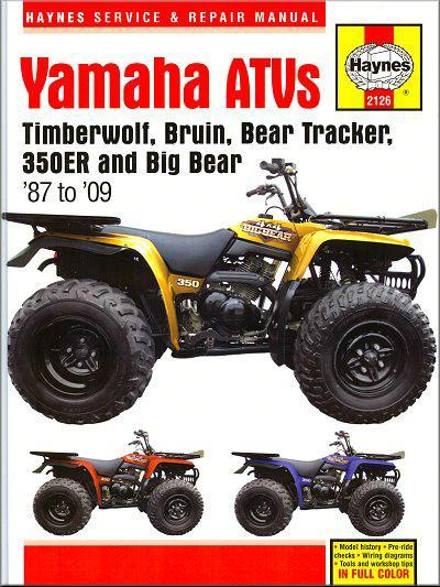 Yamaha Timberwolf, Bruin, Bear Tracker, 350ER & Big Bear ATVs 1987 - 2009