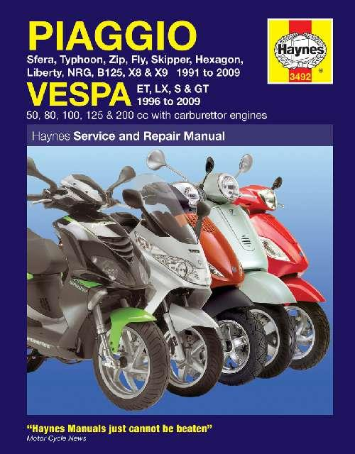 Piaggio & Vespa Scooters 1991 - 2009 Haynes Owners Service & Repair Manual - Front Cover