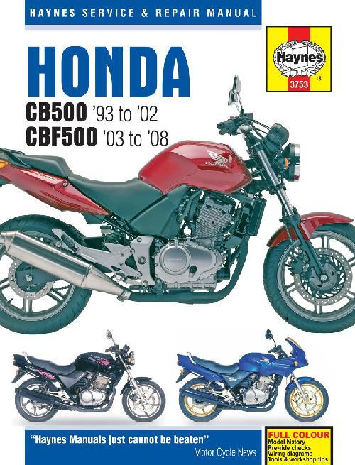 Honda CB500 & CBF500Twin 1993 - 2008 Haynes Owners Service & Repair Manual - Front Cover