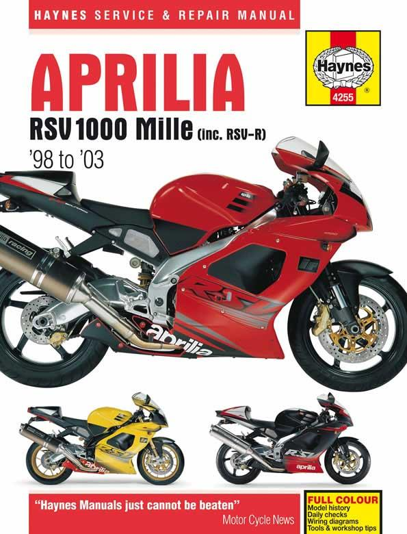 Aprilia RSV 1000 Mille 1998 - 2003 Haynes Owners Service & Repair Manual - Front Cover