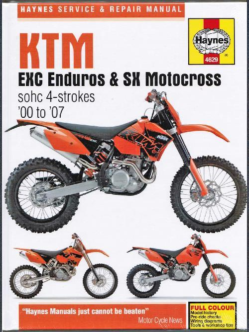 KTM EXC Enduro & SX Motocross SOHC 4 Strokes 2000 - 2007 Workshop Manual