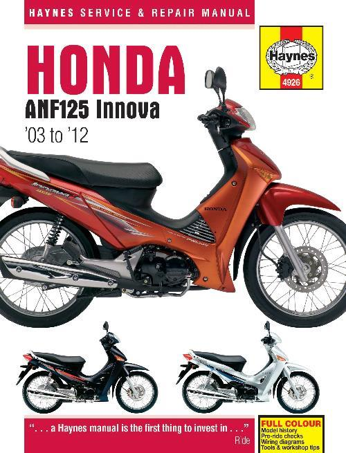 Honda ANF125 Innova 2003 - 2012 Haynes Owners Service & Repair Manual