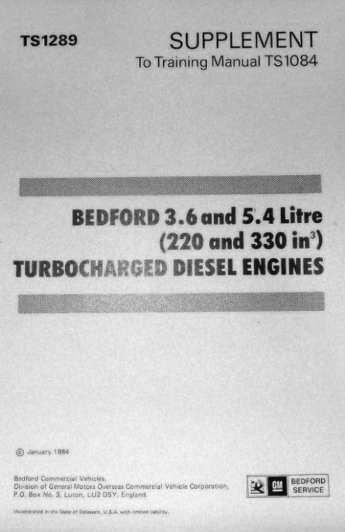 Bedford 3.6 & 5.4 Litre (220 and 330 ci) Turbocharged Diesel Manual Supplement