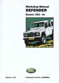 Land Rover Defender 90 110 & 130 1992 - 1994 - Front Cover