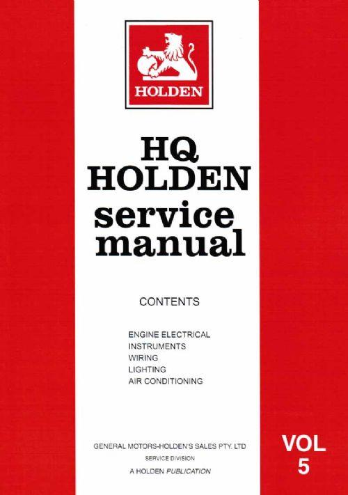 Holden HQ 1971 - 1974 Service Manual : Volume 5 - Front Cover
