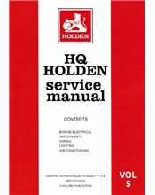 Holden HQ 1971 - 1974 Service Manual : Volume 5
