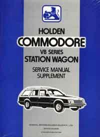 Holden Commodore VB Series Wagon Service Manual Supplement - Front Cover