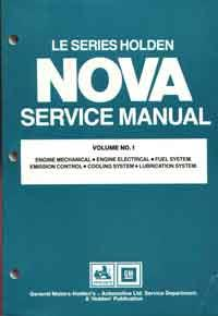 Holden Nova LE Series 1989 - 1991 Factory Service Manual : Volume 1 - Front Cover