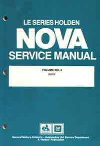 Holden Nova LE Series 1989 - 1991 Factory Service Manual : Volume 4 - Front Cover