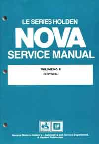 Holden Nova LE Series 1989 - 1991 Factory Service Manual : Volume 6 - Front Cover