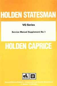 Holden Statesman & Caprice VQ Series Service Manual - Front Cover