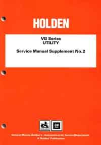 Holden VG Series Utility Service Manual Supplement No. 2 - Front Cover