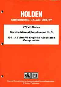 Holden Commodore, Calais & Utility VN/VG Series Service Manual - Front Cover