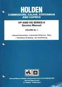 Holden Commodore, Calais, Statesman & Caprice VP & VQ Series II Service Manual - Front Cover