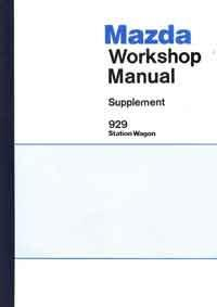 Mazda 929 12/1981 Station Wagon Factory Workshop Manual Supplement - Front Cover