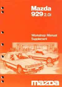 Mazda 929 2.0I 06/1984 Factory Workshop Manual Supplement - Front Cover