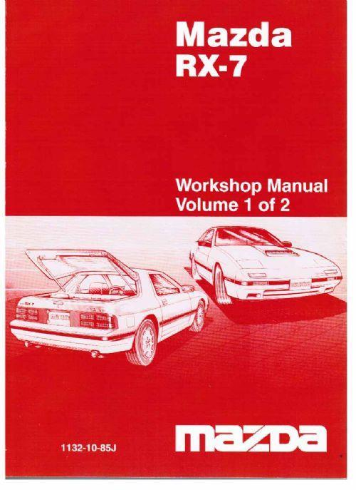 Mazda RX-7 (FC) 10/1985 Factory Workshop Manual: 2 Volume Set - Front Cover