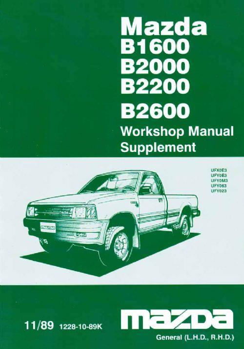 Mazda B Series 10/1989 Factory Workshop Manual Supplement - Front Cover