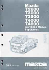 Mazda T Series (WG) 05/1992 Factory Workshop Manual Supplement - Front Cover