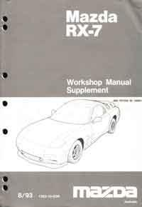 Mazda RX-7 FD 03/1993 Factory Workshop Manual Supplement - Front Cover