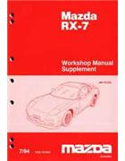 Mazda RX-7 FD 07/1994 1994 Factory Workshop Manual Supplement - Front Cover