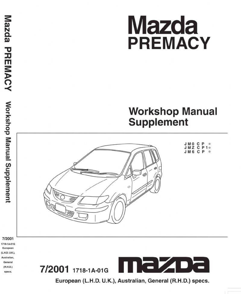 Mazda Premacy 07/2001 Factory Workshop Manual Supplement - Front Cover