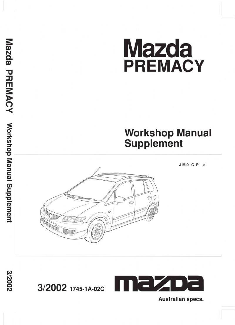Mazda Premacy 03/2002 Factory Workshop Manual Supplement - Front Cover