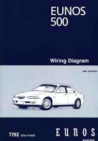 Mazda Eunos 500 CA 1992 Factory Wiring Diagram Manual Supplement - Front Cover