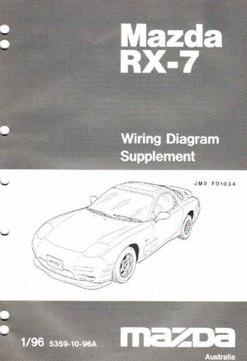 mazda rx-7 fd 01/1996 wiring diagram factory manual supplement - front cover